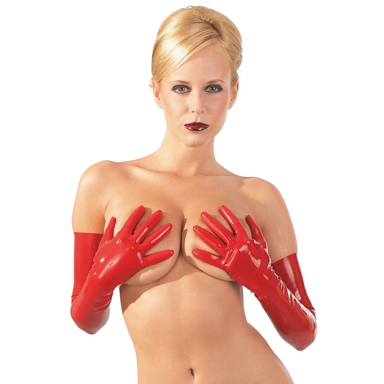 Latex Oberschenkel Strümpfe - Rot