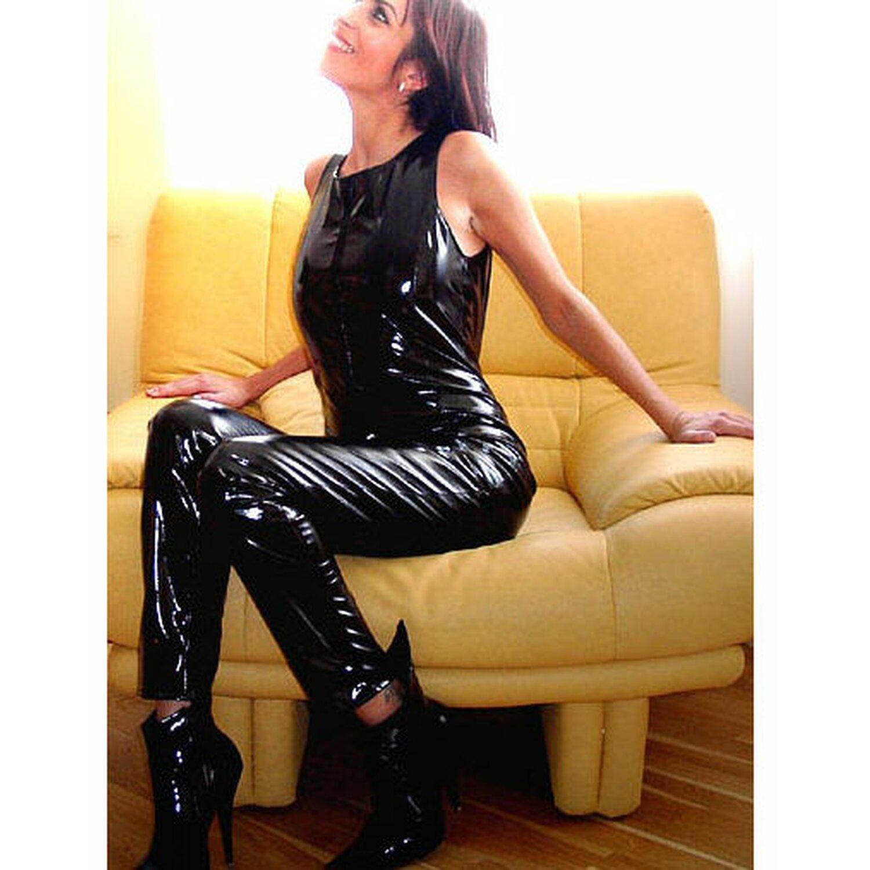Sweet-Sin® - Lack Catsuit/Overall (ärmellos) - ...