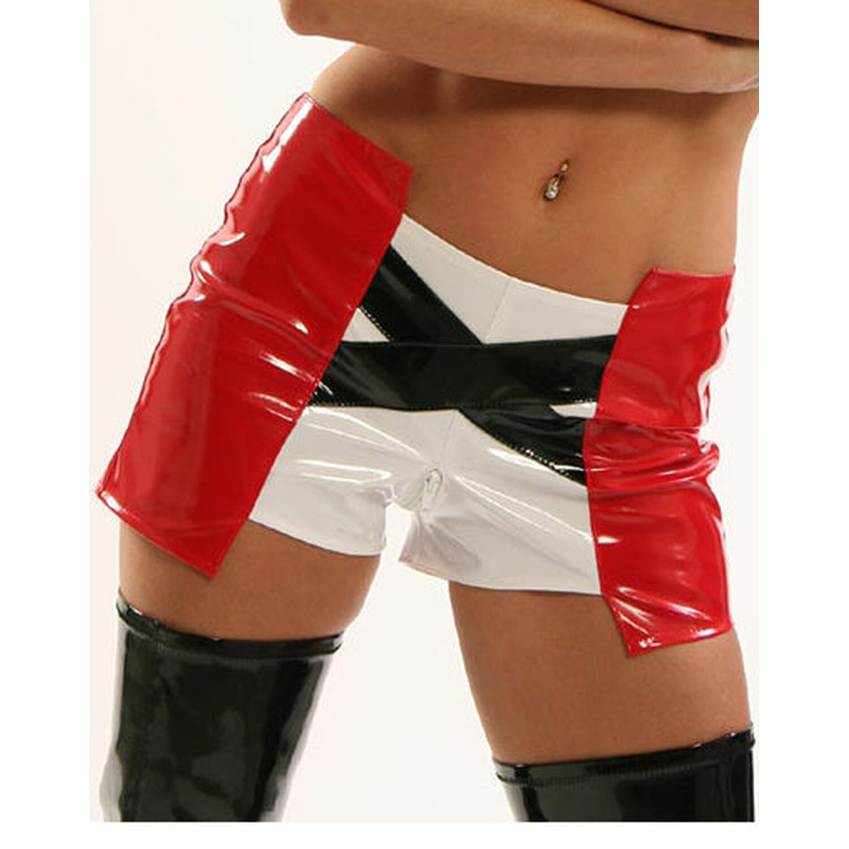 Sweet-Sin® - Lack Panty 2-farbig mit X-Streifen...