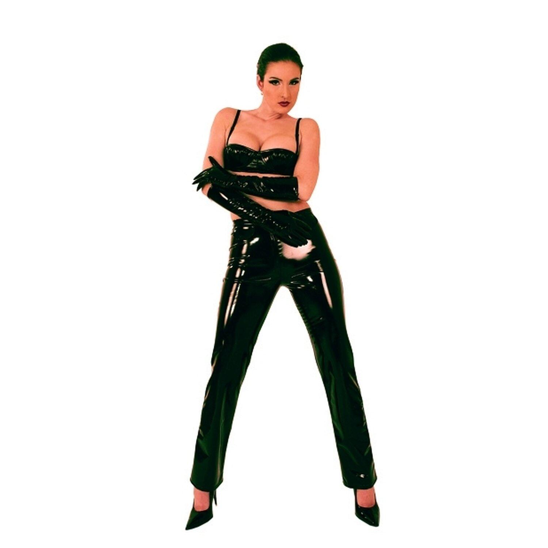 Ledapol Damen Lack Hose mit Front-Reißverschluss - Weiß Größe S