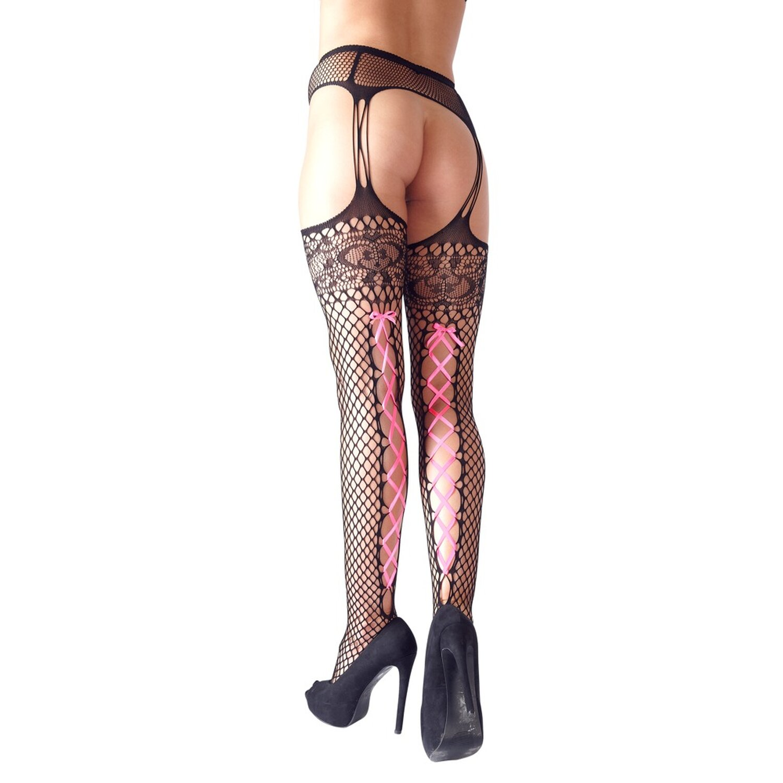 Cottelli Straps-Strumpfhose »Netz« - Schwarz/Pink Größe S/M