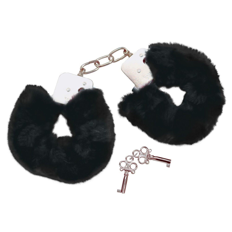 Bad Kitty Handschellen mit Plüsch - Schwarz